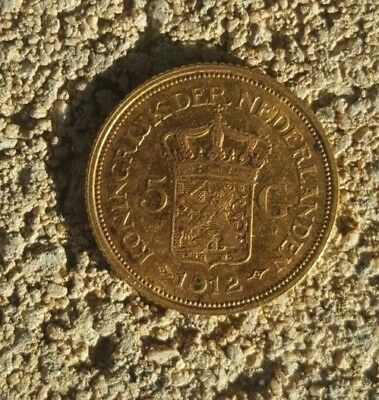 1912 Solid Gold Netherlands 5 Gulden coin