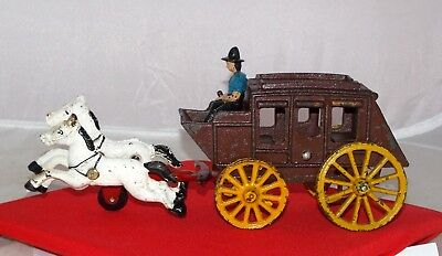 Vintage Cast Iron Stagecoach Toy with driver & two galloping horses Collectible