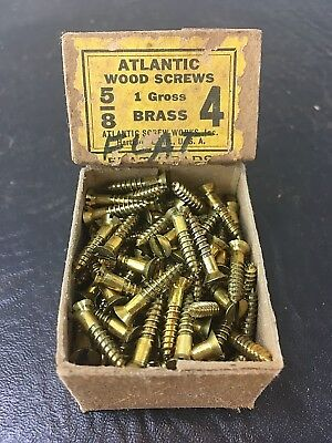 Vtg Atlantic #4 X 5/8 Inch Flat Head BRASS SLOTTED Wood Screws 141 box unused