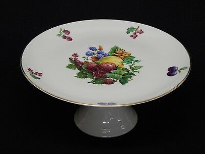 Naaman Israel Cake Plate Fruit Design Footed Pedestal Stand 11 x 5 inch