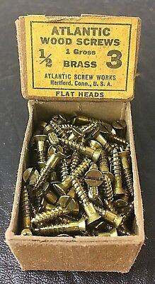Vtg Atlantic #3 X 1/2 Inch Flat Head BRASS SLOTTED Wood Screws 158 box unused