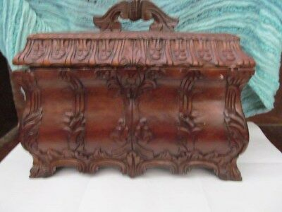 Fantastic Lg. Antique Hand Carved WoodenBox W/handle !!! New Yarn