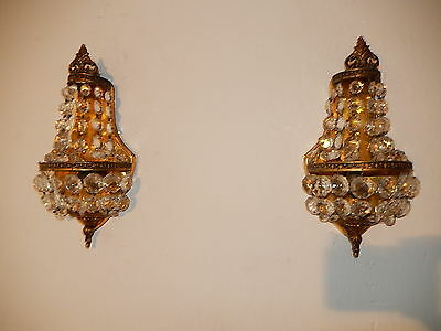 ~OLD French Crystal Prisms Bronze Sconces Empire Rare Beautiful Vintage~