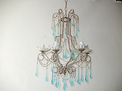 ~ c 1920 RARE French Beaded Aqua Blue Drops & Swags Crystal Chandelier Vintage!~