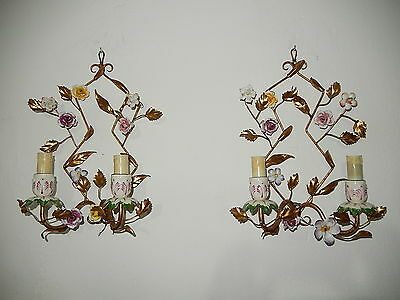 ~c 1920 Gilt Tole French Porcelain Flowers  Sconces Vintage Old!~