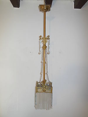 ~c 1930 French Art Deco Glass Tubes Floral Bronze Crystal Chandelier Vintage~