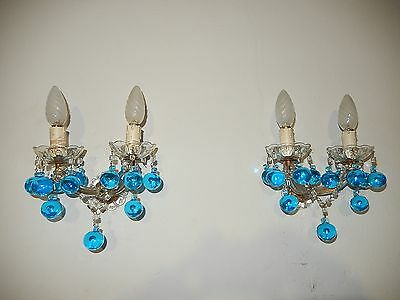 ~c 1920 French Aqua Blue Murano Drops and Beads Sconces LOADED RARE Vintage~