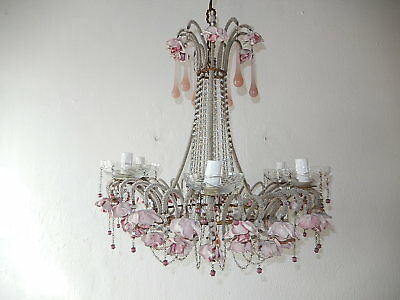 ~ c 1920 RARE French Beaded Pink Opaline Drops & Roses Chandelier One of a Kind~