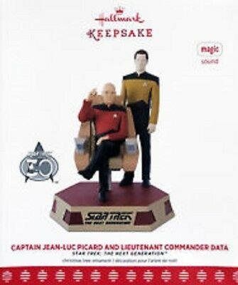 Jean Luc-Picard & Lt Commander Data 2017 Hallmark Ornament Star Trek Magic Nib