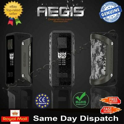 100% Authentic GeekVape Aegis ShockProof 100W TC Box Mod+26650 Battery Included