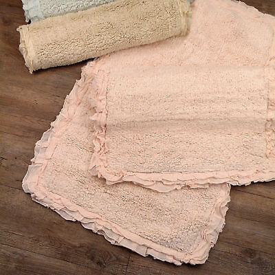 Tappeto bagno Shabby chic Rouche Boucle Collection 70x120 Colore Rosa