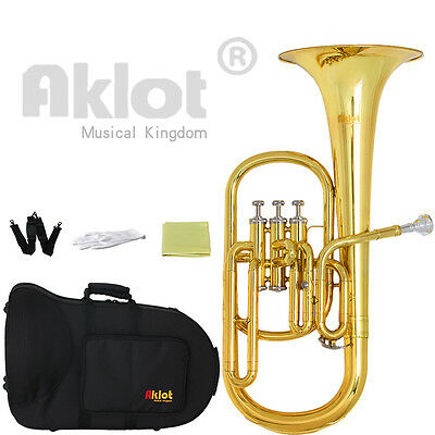 Aklot Intermediate Eb Alto Horn Gold Silver Plated Mouthpiece with Case