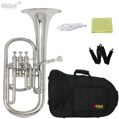 Aklot Intermediate Eb Nickel Alto Horn Silver Plated Mouthpiece with Case