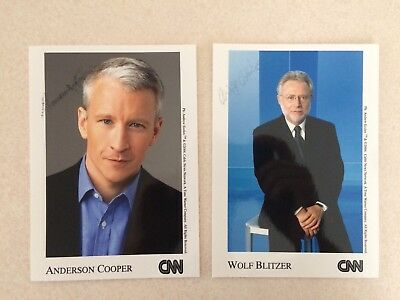 Anderson Cooper Wolf Blitzer Signed Photos CNN News Anchors USA