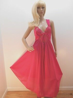 1X Hot Pink Olga Like Nightgown 100% Nylon USA Full Sweep- Quiet Moments Plus 1X