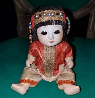 Asian Baby Doll Signed 7/107/Paper Mache Oriental Baby Doll
