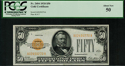 1928 $50 Gold Certificate FR-2404 - PCGS 50 - About New