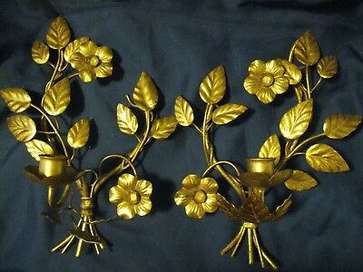 Pair Vintage Candle Holder Wall Sconces Italian Gold Gilt Tole Leaves Flower