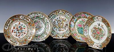 Nice Lot Of Antique Chinese Famille Rose Porcelain Plates In Various Patterns