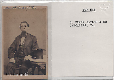 Antique CDV Photograph -  Unknown old man with beard and top hat. Lancaster Penn