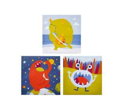"""Planet Eating Monsters Prints Baby Room Wall Decor Set of 3 Canvases 12"""" x 12"""""""