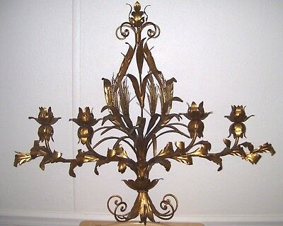 Vtg Rare-Hollywood Regency Gold Gilt Italian Wall Sconce- Flowers & Wheat