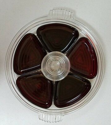 Anchor Hocking Manhattan Clear Glass Relish Tray With Ruby Red Inserts 1940s