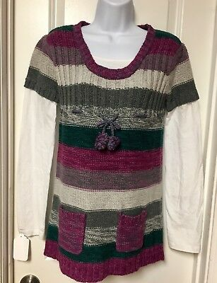 Energie Brand Girls Multicolor Sweater Tunic Dress Size XL 12-14
