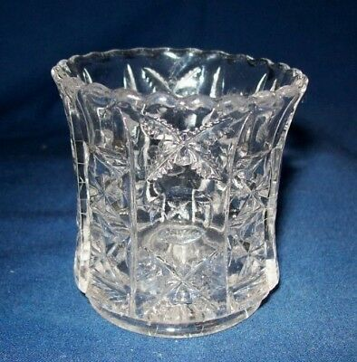 Striking Stars and Stripes Pattern Glass Toothpick Holder - EXC