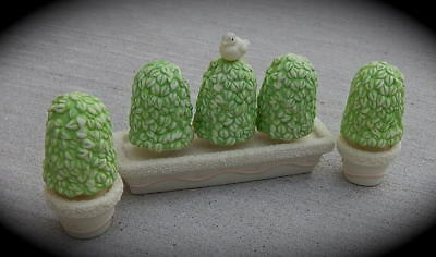 Dept 56 Porcelain  Snowbunnies Topiary Trees Set of 3 Pc.