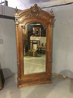 Original vintage French Louis XV rosewood armoire with Mirrored doors