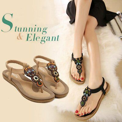 Bohemian Beaded Flat Sandals Rubber Sole Comfortable Elastic Band Beads Flats GT