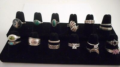 VTG to Mod STERLING SILVER .925 Ring Lot various sizes some gemstones 16 PC