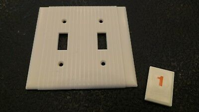 1 Vtg Bakelite Ivory Ribbed Deco Bryant Double Light Switch Plate Cover - O1