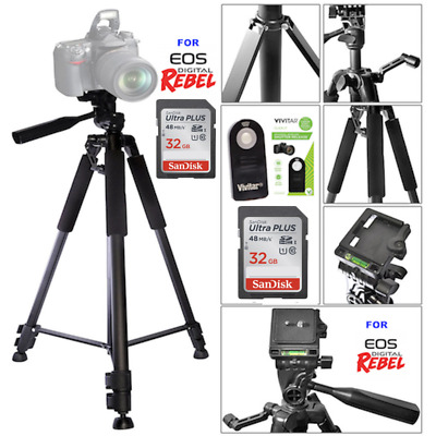 "60"" Tripod + Remote +32Gb Sd For Canon Rebel T6I T6S T6 T3I T4I T5I T5 60D 70D"
