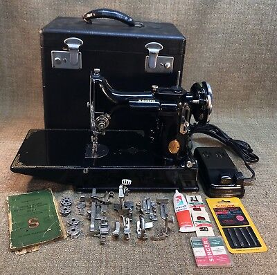 Vintage Singer 221-1 Featherweight Sewing Machine W/pedal, Case, Extras