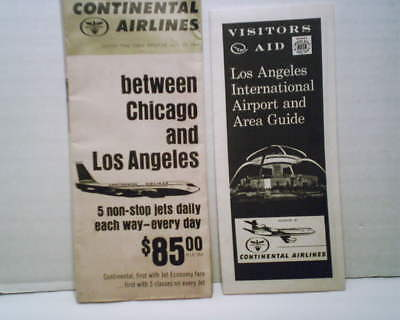 Continental Airlines Los Angeles Schedule And Visitors Aid Leaflets  1964