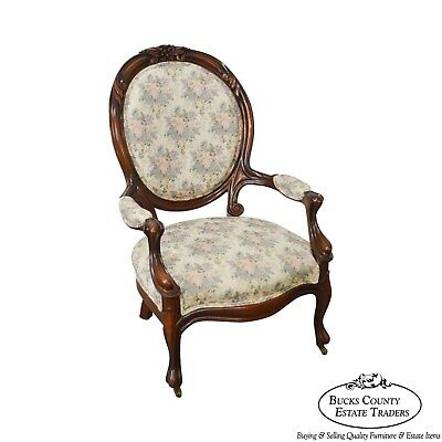 Victorian Revival Style Mahogany Cameo Back Parlor Arm Chair