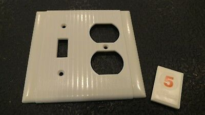1 Ivory Vtg Ribbed Deco 2 Gang  Outlet Switch Combination Cover Plate - O5