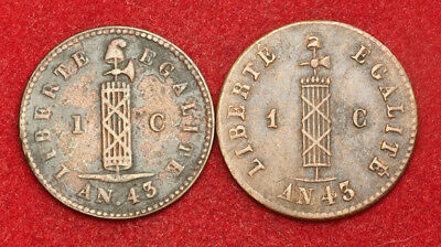 1846, Haiti (Republic). Copper 1 Centime Coins. Regular & French Strike. 2pcs!