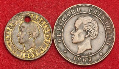 1863, Haiti (Republic). Copper 1 Centime & 2 Centimes Coins. (VF-/VF+) 2pcs!