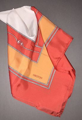 Vintage OROTON Australia Orange Coral Peach Logo Links 24 in Silk SCARF MSRP$145