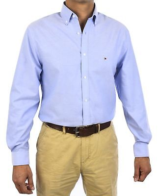4132e342 New Tommy Hilfiger Mens Non Iron Slim Fit Oxford Solid Dress Shirt 24N0625