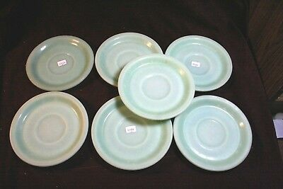 "Outstanding Set of 7 Fire King Jadite 6"" Plates - Signed"