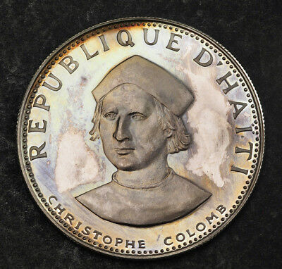 "1973, Haiti. Proof-like Silver 25 Gourdes ""Christopher Columbus"" Coin."