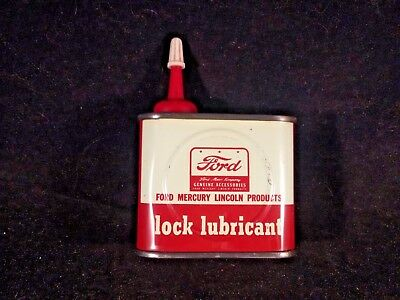 Vintage Ford Lock Lubricant Handy Oiler Oil 4 oz Rare Old Household Tin Can