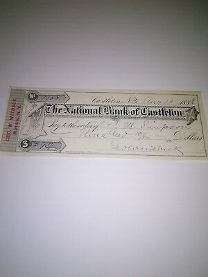 Old 1886  Bank Check from Castleton New York