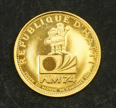 "1973, Haiti. Proof-like Gold 200 Gourdes ""World Soccer Championship"". 2.93gm!"