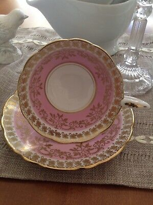 Royal Stafford bone china made in England cup & saucer in pink/white w/gold gilt