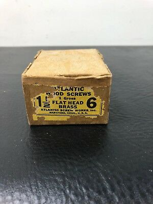 Vtg Atlantic #8 X 1 1/2 Inch Flat Head BRASS SLOTTED Wood Screws 138 box